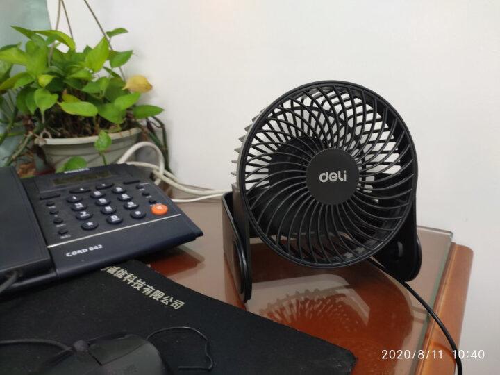 得力(deli)USB大风力办公室桌面风扇/小风扇/电风扇/学生宿舍风扇 两档风速 蓝色 晒单图