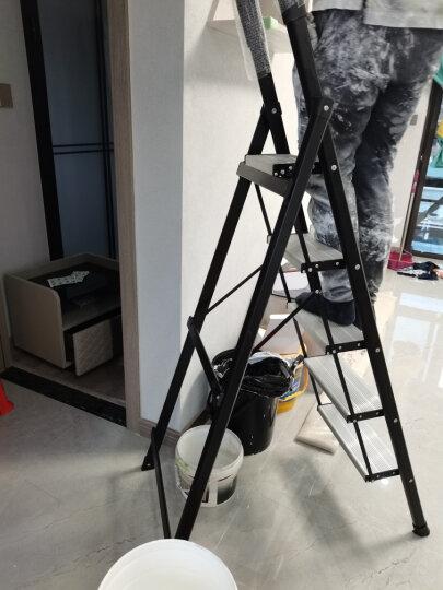 稳纳 梯子 家用梯子 五步人字梯加厚折叠梯凳五踏登高装修金属工程梯子5105GA白 晒单图