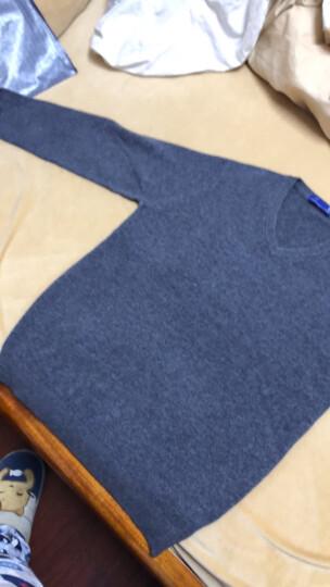袋鼠 羊毛衫男2020新款毛衣男士纯色V领加厚冬季青年韩版针织打底衫 DS67756 灰色(圆领) 185 晒单图