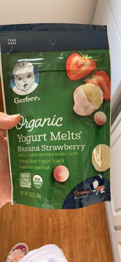 美国原装进口 嘉宝Gerber Baby有机28 婴儿溶豆 宝宝辅食  有机香蕉草莓味酸奶溶豆 三段(8个月以上)28g/袋 晒单图