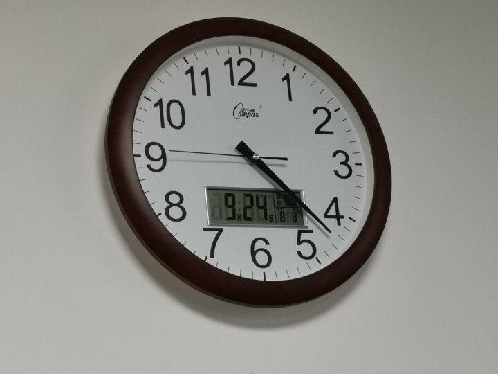 康巴丝(COMPAS) 挂钟 客厅卧室静音现代时尚创意办公时钟 家居简约石英钟 3008 竹木色 晒单图
