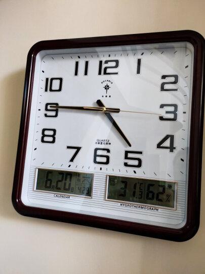 北极星(POLARIS)挂钟14英寸万年历温湿度计静音创意客厅日历挂表钟表夜光石英钟2669T 升级版银白夜光 晒单图