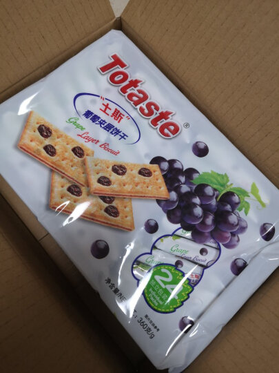 中国香港 土斯(Totaste) 葡萄味夹层饼干(含葡萄果粒) 休闲零食蛋糕甜点心 实惠分享装360g 晒单图