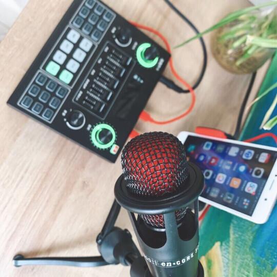 意创生活 手机声卡套装k歌唱歌电脑直播设备支架全套电容麦克风网红主播快手抖音变声器唱吧专业录音话筒 香槟金+重低音金属耳机+MV视频大支架+收纳盒 晒单图