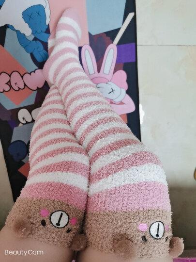 秋冬珊瑚绒袜子过膝袜套加厚保暖月子袜护膝长筒护腿套脚套毛绒睡眠袜可爱居家室内地板袜 玫红条小田鼠 均码 晒单图