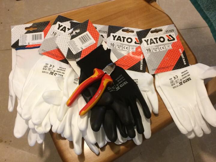 YATO劳保手套防割防护耐磨防滑尼龙内胆减震抗高温弹性手套 白色PU尼龙手套10'' YT-7470 晒单图