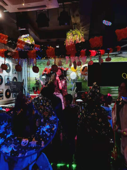 欢乐派对 万圣节圣诞节元旦儿童披风斗篷表演演出披风道具大人披风巫婆披风90CM和1米3可选 网纱巫婆帽子黑色烫银 晒单图