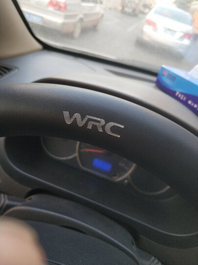 WRC汽车真皮方向盘套运动碳纤纹PU革把套新宝马5系奥迪Q5途观CRV速腾帕萨特名图昕锐翼虎中号 黑色 晒单图