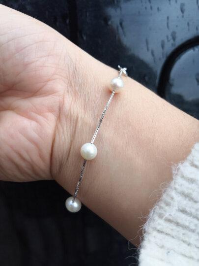 京润 珍珠遇见淡水珍珠手链满天星手链女7-8mm18cm白色5珠附证书 晒单图