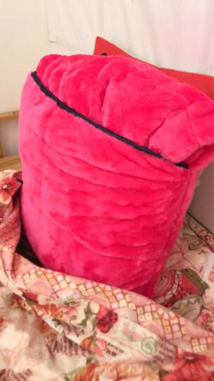 御棉堂 多功能创意抱枕被两用双面加厚保暖法兰绒夹绒护腰靠垫办公室午睡枕车载抱枕被 玫红色 150*200cm 晒单图