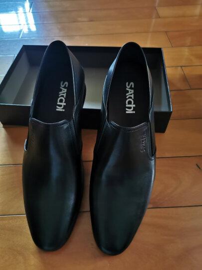 沙驰(Satchi)男鞋新款商场同款尖头头层细腻小牛皮商务休闲软底软面皮鞋 尊贵黑色 38 晒单图