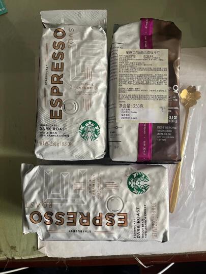 星巴克(Starbucks)美国进口咖啡豆 纯黑咖啡 可研磨咖啡 浓缩烘焙咖啡豆 250g 晒单图