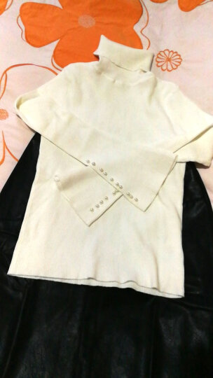 尚都比拉2018秋季新品高领钉珠毛衣喇叭袖针织衫纯色打底衫JDW83H0122218 白色 XL 晒单图