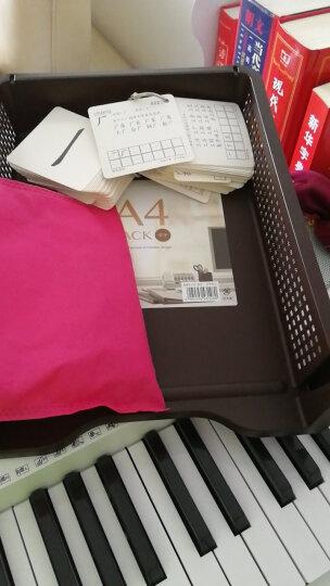 日本进口inomata 办公桌面A4纸文件收纳筐 创意塑料文件篮 可叠加垒高多层收纳盒 节约空间竖版棕色1个 晒单图
