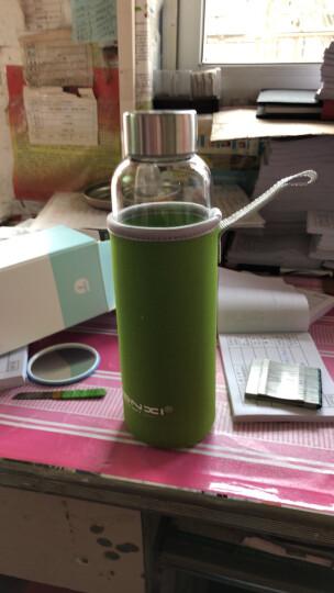 天喜(TIANXI)玻璃杯 男女便携创意茶水杯泡茶杯 带杯套 550ML黑色套 晒单图