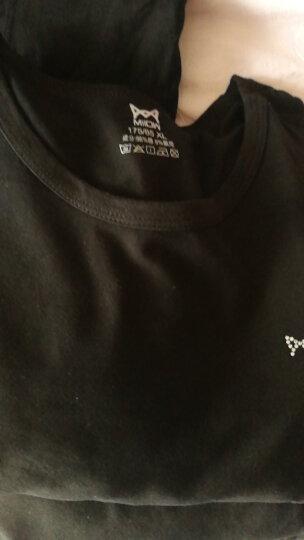 猫人棉莱卡情侣内衣男女纯色圆领薄款套装基础打底棉毛衫棉毛裤 黑色-男XL 晒单图