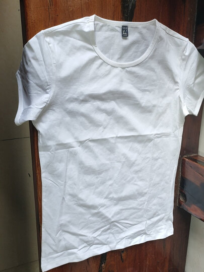 简束 短袖T恤男纯色棉质t恤夏季休闲男士运动紧身t恤男圆领修身打底汗衫T067 白色 XL(70kg左右) 晒单图