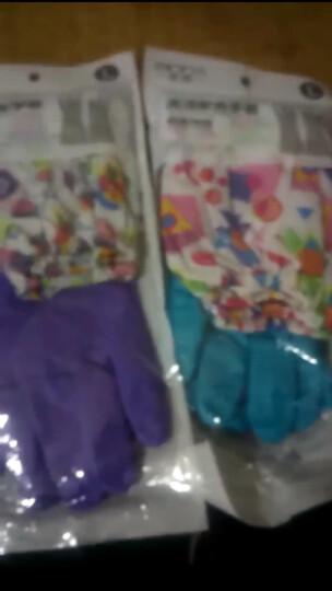 亲纳 厨房加长加厚家务清洁 防水胶皮手套  乳胶绒里洗碗洗衣手套 束口紫水果切片-76 晒单图
