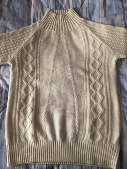 欧丝璐2019年春季新款复古绞花针织衫纯羊绒简约半高领打底毛衣女52OSL164343 奶白 110/XL 晒单图