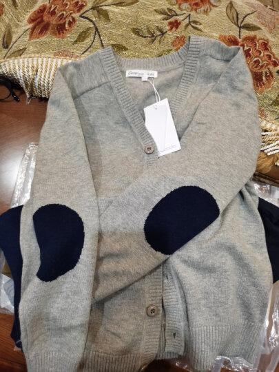 纯一良品童装男童开衫儿童毛衣宝宝针织衫中大童线衣外套男孩春秋装上衣 灰色 105cm 晒单图