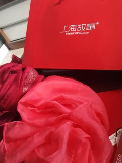 上海故事真丝丝巾女士披肩围巾两用春秋长款纯色百搭围脖桑蚕丝纱巾沙滩巾 雪纺暗胭脂110*180 晒单图
