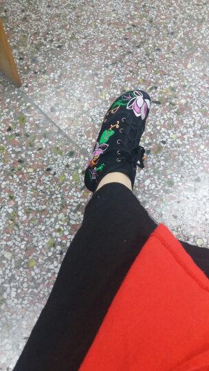 娟的绢 老北京布鞋女靴子 民族风绣花高帮鞋 内增高坡跟短靴 F880 红色 36 晒单图