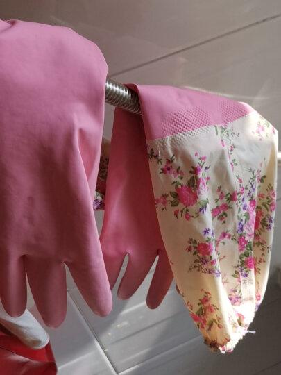 欧润哲 洗碗手套加绒 加长冬季型洗衣清洁保暖家居厨房乳胶橡胶长袖防水手套 单双 晒单图