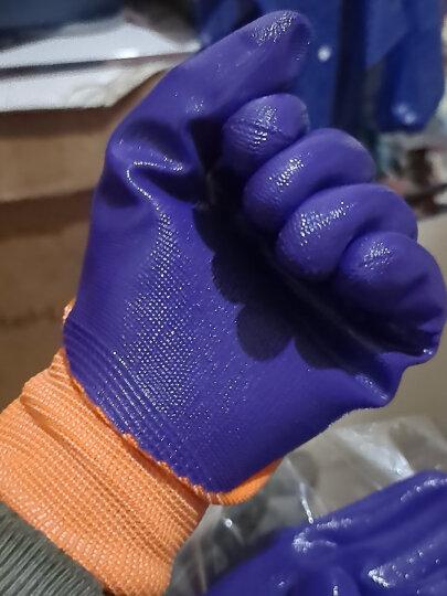 星宇(XINGYU) 劳保手套N598 尼龙丁腈浸胶防滑耐磨防油半挂透气薄款机械农牧劳作手套 N598紫色12副 M码 晒单图