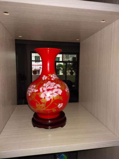 景德镇陶瓷器新中式小号中国红描金牡丹花瓶工艺品客厅摆件家居酒柜玄关电视柜办公室博古架装饰品瓷瓶摆设 中国红巃头葫芦(配木质旋转底座) 晒单图