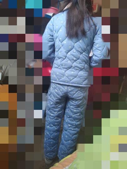 缤靓冬天针织夹棉睡衣女士冬季加厚三层长袖棉袄梭织加大码家居服套装 套装8852条纹女 XL 晒单图