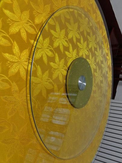 雕图腾 酒店餐桌转盘钢化玻璃圆桌转盘连体圆形转盘底座大桌面旋转盘 餐桌转盘 金沙 110cm/厚10mm 晒单图