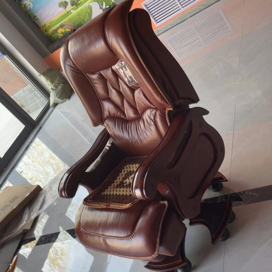 寳伽帝龍(BOGADION) 真皮可躺老板椅实木牛皮大班椅升降转椅按摩家用电脑椅办公椅子 棕色/咖啡色进口牛皮+搁脚+按摩(下单请备注颜色) 晒单图