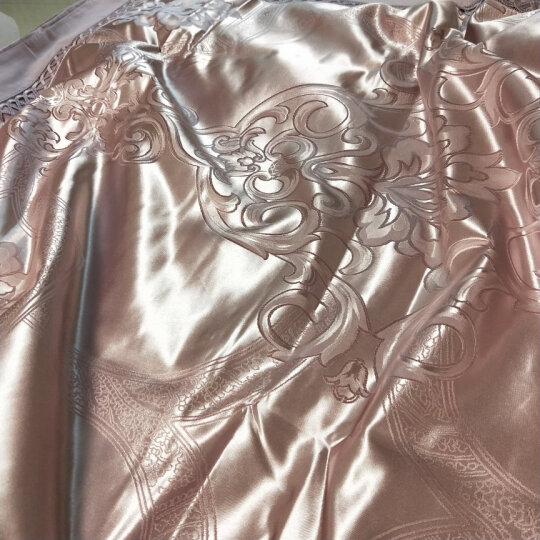 锦芙秀家纺  臻彩丝浮雕镂空全棉四件套贡缎提花床品套件婚庆被罩纯棉双人床上用品 安吉丽娜-冰兰 2.0m床适用(被套220*240cm) 晒单图