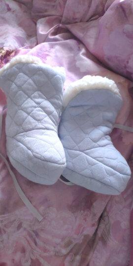 婴儿棉鞋0 1岁 宝宝鞋套短靴冬加厚加绒糖果鞋子学步鞋冬 新生儿用品 系带防掉羊羔绒棉鞋 静谧蓝 加厚羊羔绒 底长11cm 建议 0-10个月 晒单图