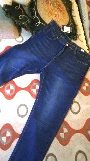 酷万牛仔裤男士秋冬季弹力加大码长裤子小直筒裤韩版修身潮胖子胖人大号男裤 中蓝色 48码 晒单图