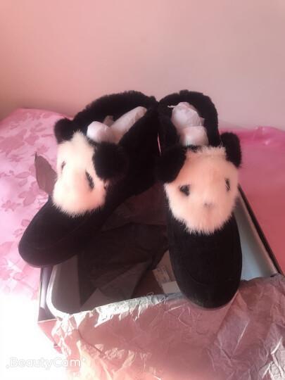 设计师女鞋 MIO米奥女鞋 冬季熊猫头装饰雪地靴女棉靴M177604422 黑色 37 晒单图