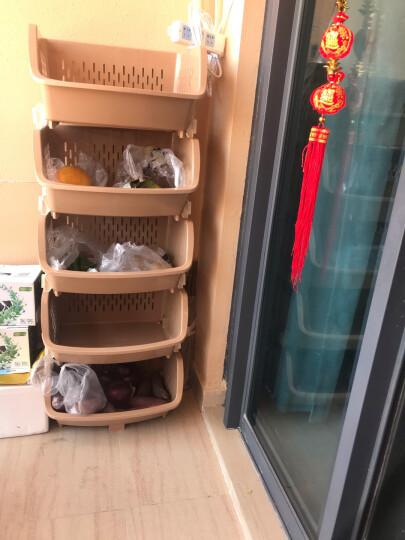 百露塑料蔬菜水果厨房置物架收纳筐落地多层储物用品用具放菜篮架子收纳架 中号蓝色五层 晒单图