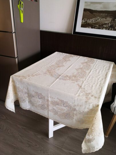 布蓝格 日本进口高档桌布防水防油免洗防烫加厚PVC奢华餐桌布欧式茶几布现代长方形台布塑料桌垫 米色 132*180cm 晒单图