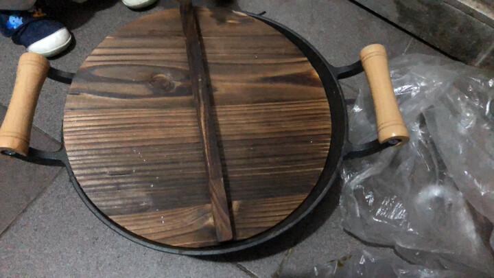 赤霄炒锅铁锅 铸铁锅 中式木质把柄双耳加厚铁锅明火燃气煤气灶电磁炉通用 32cm 晒单图