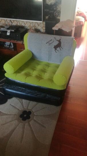 品质绒面时尚单人充气休闲躺椅冲气懒人沙发午休午睡床夏天午休沙发 【特价】草绿色单人充气沙发床送电气泵 晒单图