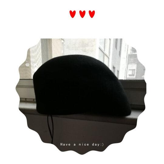 择信 韩国羊毛尼蓓蕾帽空姐帽保暖画家帽贝雷帽韩版女士秋冬鸭舌帽 黑色有花朵 均码-适合55-58cm头围 晒单图