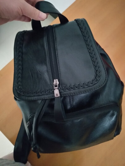 新款双肩包女包休闲女士背包时尚旅行上班大容量背包韩版学院风书包 有拉链款黑色 晒单图