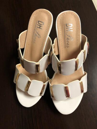 夏季新款凉鞋女鱼嘴性感露趾拖鞋厚底松糕防水台一字凉拖鞋坡跟高跟拖鞋 白色DH8509 36 晒单图