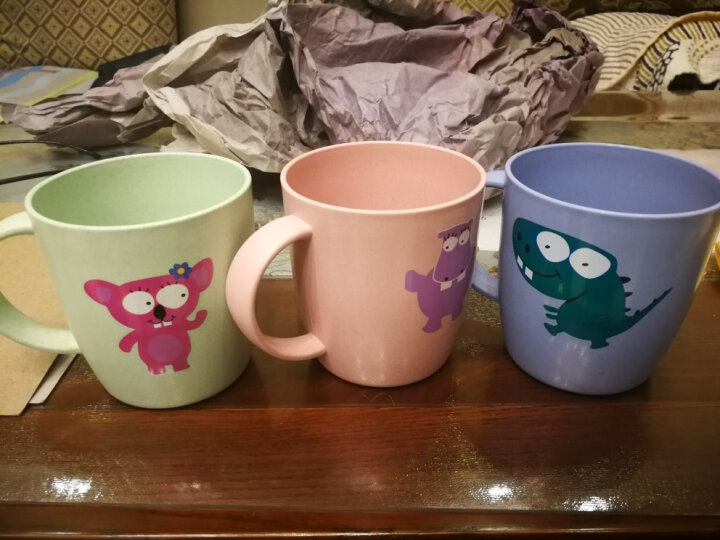 苏子 小麦卡通漱口杯子旅行儿童情侣牙刷杯创意刷牙杯洗漱杯牙缸牙具杯 粉色 晒单图