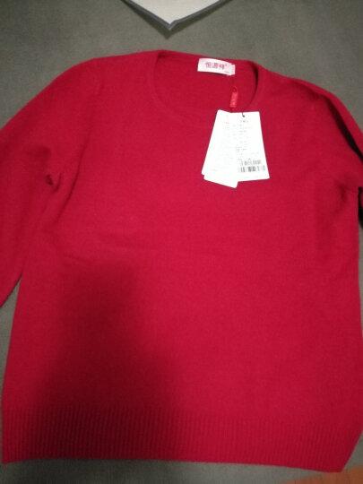 恒源祥女士羊绒衫纯羊绒套头毛衣保暖高领修身山羊绒毛衫女装 2603低圆领-大红 160/S(100斤左右) 晒单图