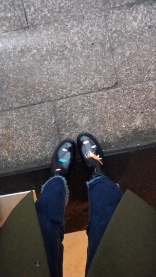 stylerain春夏时尚手绘风女式低筒雨靴水靴防滑水鞋胶鞋短筒雨鞋女 黑色海底猫 37 晒单图
