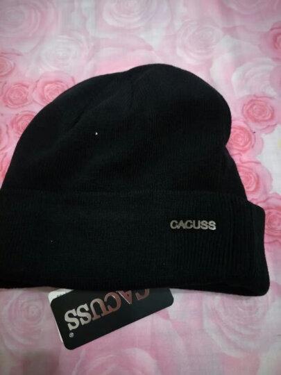 CACUSS羊毛毛线帽子男士双层加绒加厚保暖护耳帽翻边冬季针织帽子Z0079 帽子围巾两件套黑色W0029 晒单图