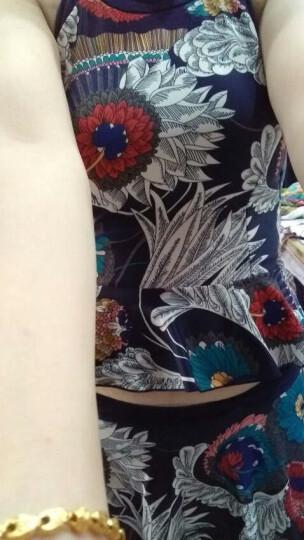 亦美珊泳衣女分体两件套遮肚显瘦复古印花小胸聚拢平角温泉游泳衣 蓝底印花XL 晒单图