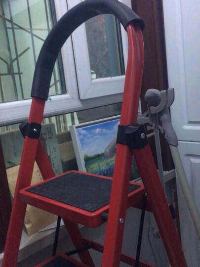 奇晟铭源 梯子家用梯折叠梯人字梯20cm加宽防滑踏板金属梯红色可用高度122cm多功能梯置物架花架 LC-117 晒单图