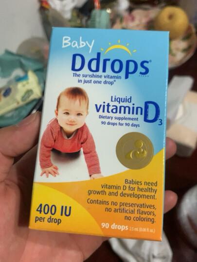 Ddrops Baby儿童宝宝维生素D3滴剂 宝宝vd3 钙吸收营养搭档15天-1岁  2.5ml 90滴 400IU 加拿大进口 晒单图